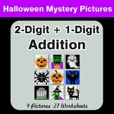 Halloween Math: 2-Digit + 1-Digit Addition - Color-By-Number Mystery Pictures