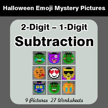 Halloween Math: 2-Digit - 1-Digit SUBTRACTION - Color-By-Number Math Mystery Pictures