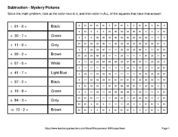 Halloween: 2-Digit - 1-Digit SUBTRACTION - Color-By-Number Math Mystery Pictures