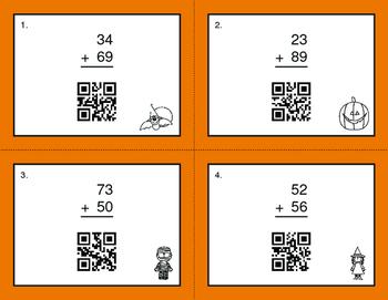 Halloween Math: 2-Digit Addition QR Code Task Cards