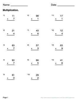 Halloween Math: 2-Digit By 1-Digit Multiplication Maze
