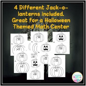 Halloween Math - 2 Digit Multiplication, Addition, Subtraction
