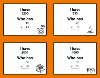 Halloween Math: 2-Digit Multiplication - I Have, Who Has