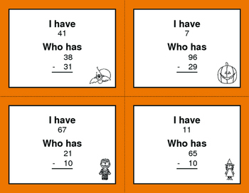 Halloween Math: 2-Digit Subtraction - I Have, Who Has