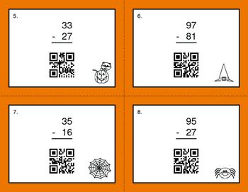 Halloween Math: 2-Digit Subtraction QR Code Task Cards