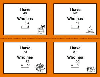 Halloween Math: 2-Digit and 1-Digit Addition - I Have, Who Has