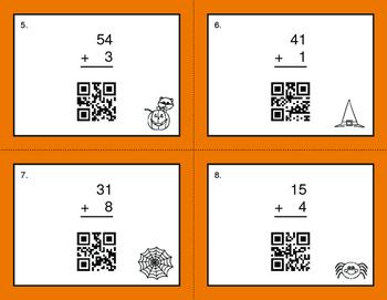 Halloween Math: 2-Digit and 1-Digit Addition QR Code Task Cards