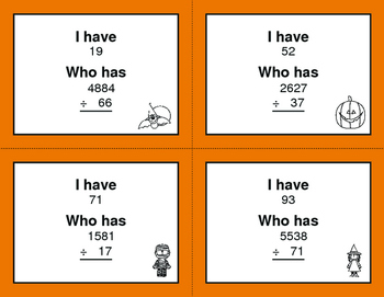 Halloween Math: 2-Digit and 1-Digit Multiplication - I Have, Who Has