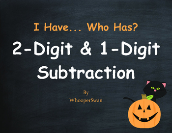 Halloween Math: 2-Digit and 1-Digit Subtraction - I Have, Who Has