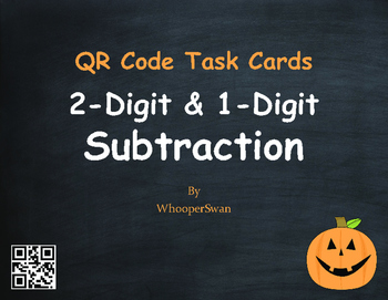 Halloween Math: 2-Digit and 1-Digit Subtraction QR Code Task Cards