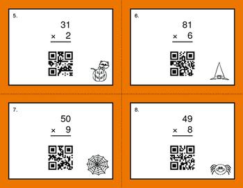 Halloween Math: 2-Digit by 1-Digit Multiplication QR Code Task Cards