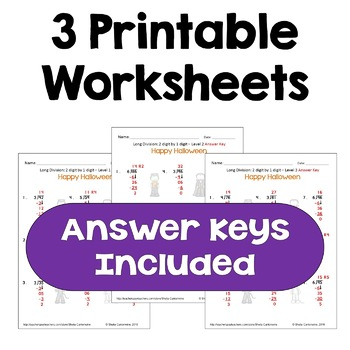 Halloween Long Division Worksheets - 2 digit by 1 digit  (3 Levels)