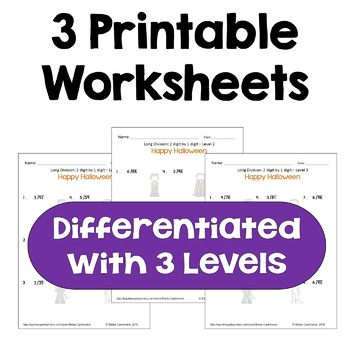 Halloween Math Long Division Worksheets - 2 digit by 1 digit (Differentiated)