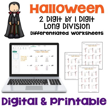 Halloween Math 2 digit by 1 digit Long Division Worksheets Differentiated