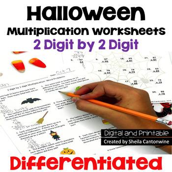 Halloween Multiplication Worksheets - 2 digit by 2 digit (