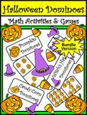 Halloween Games: Halloween Dominoes Halloween Math Game Bundle - Color & BW