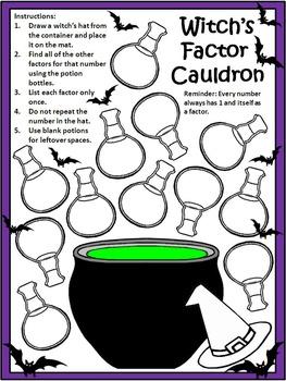Halloween Activities: Witch's Factor Cauldron Halloween Math Activity Bundle