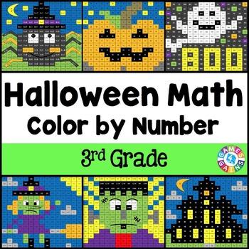 3rd Grade Halloween Activities: 3rd Grade Halloween Math (Color by Number)