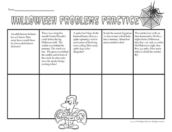 Halloween Word Problems Worksheets