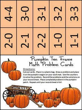 Halloween Math Activities: Pumpkin Halloween Ten Frames Activity Bundle