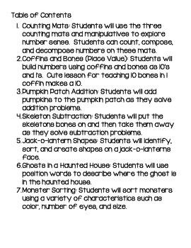 Kindergarten Halloween Math Activities