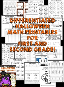 Halloween: First Grade Halloween & Second Grade Halloween Math Activities