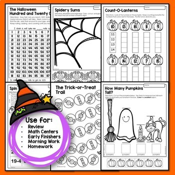 Halloween Math Games and Activities for Kindergarten and First Grade