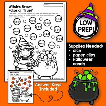 Halloween Math Games and Activities for Kindergarten and First Grade