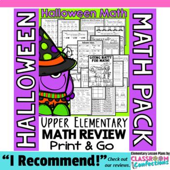 Halloween Math: Halloween 4th Grade Math Worksheets: 4th Grade Math Review Pack
