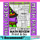 Halloween Math: Halloween 4th Grade Math Worksheets: 4th Grade Math Review Pack