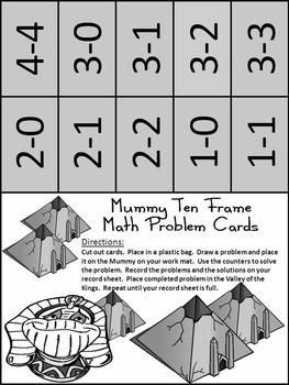 Halloween Math Activities: Mummy Halloween Ten Frames Math Activity Packet