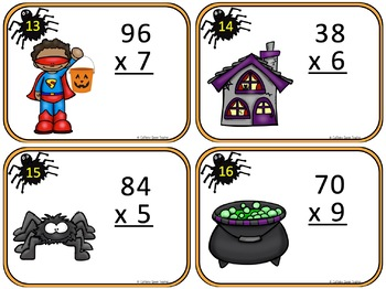 Halloween Math With 2 Digit Multiplication Task Cards