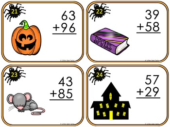 Halloween Math Addition Practice With Task Cards - SCOOT