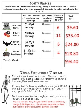 Halloween Math: Activity with Fractions and Decimals