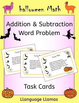 Halloween Math - Addition and Subtraction Word Problem Task Cards