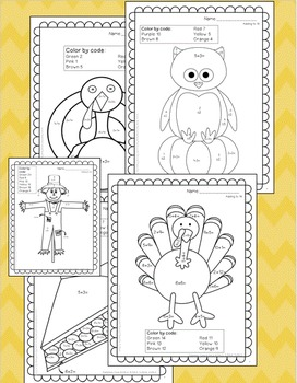 Thanksgiving Activities November Color by Addition & Subtraction 1st, 2nd grade