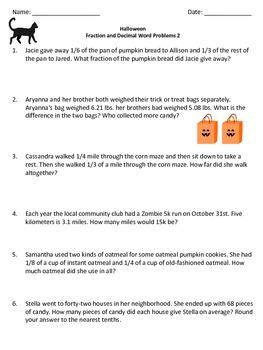 Halloween Decimals and Fractions