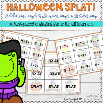Addition and Subtraction Facts Game - Halloween SPLAT!