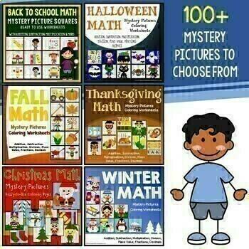 Autumn Fall Math Worksheet and Halloween Math Worksheets Bundle