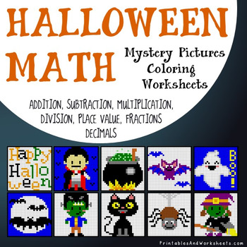 Differentiated Halloween Math Coloring Worksheets Addition ...