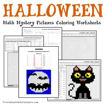 October Coloring Pages, Halloween Math Sheets Mystery Picture Activity