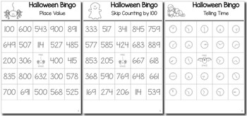 Halloween Math 2nd Grade BINGO Game Bundle