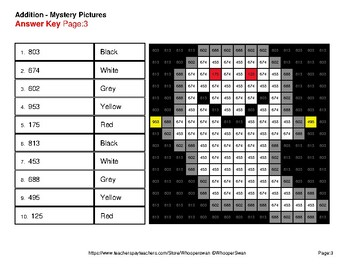 Halloween Math: 3-Digit + 1-Digit Addition - Color-By-Number Mystery Pictures