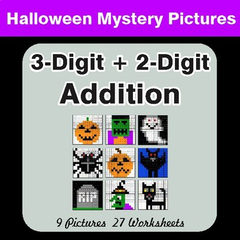 Halloween Math: 3-Digit + 2-Digit Addition - Color By Number Math Mystery Pictures