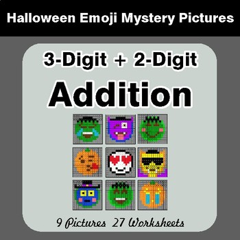 Halloween Math: 3-Digit + 2-Digit Addition - Color-By-Number Math Mystery Pictures