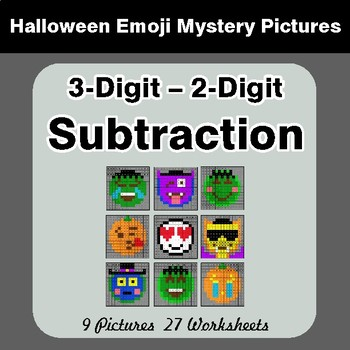 Halloween Math: 3-Digit - 2-Digit SUBTRACTION - Color-By-Number Math Mystery Pictures