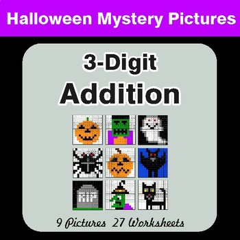 Halloween Math: 3-Digit Addition - Color-By-Number Mystery Pictures