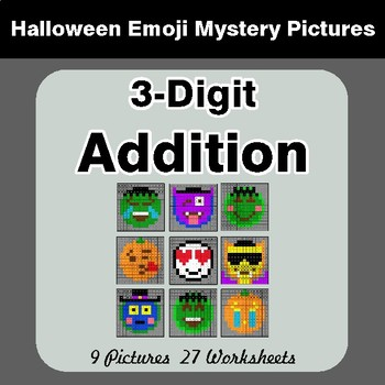 Halloween Math: 3-Digit Addition - Color-By-Number Math Mystery Pictures