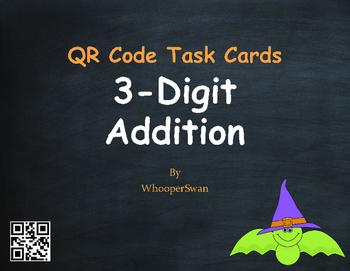 Halloween Math: 3-Digit Addition QR Code Task Cards