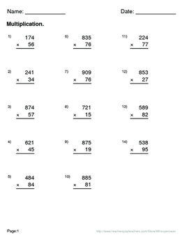 Halloween Math: 3-Digit By 2-Digit Multiplication Maze